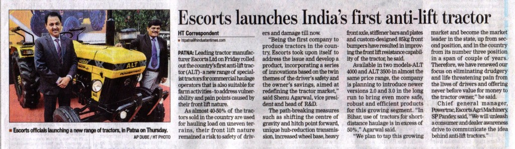 Hindustan Times ALT Coverage 1024x297 Escorts Launched its First Anti Lift Tractor